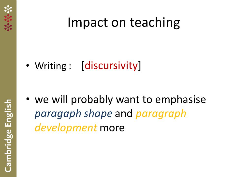 Impact on teaching Writing : [discursivity] we will probably want to emphasise paragaph shape and paragraph development more.